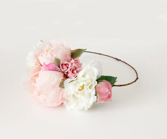 Pink and White Floral Crown, Wedding flower crown, spring, peonies, head piece, boho, Woodland, Bohemian, Festival, Flower Crown on Etsy, $50.00