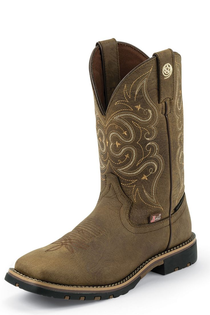 Justin Women's Brown George Strait Waterproof Boots with Tan Accents - HeadWest Outfitters