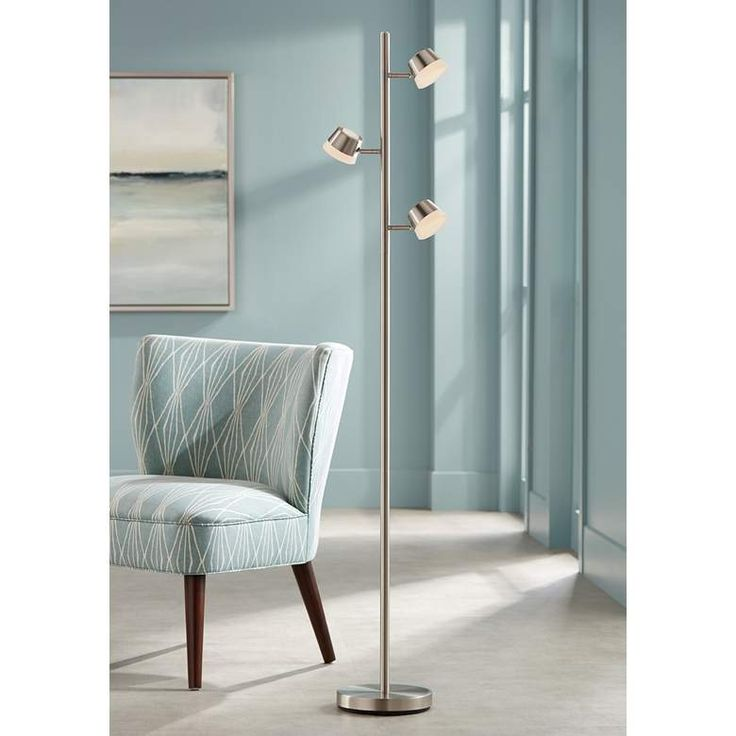Merlin Satin Nickel Trac Tree 3 Light Led Floor Lamp 18p50 Lamps Plus With Images Led