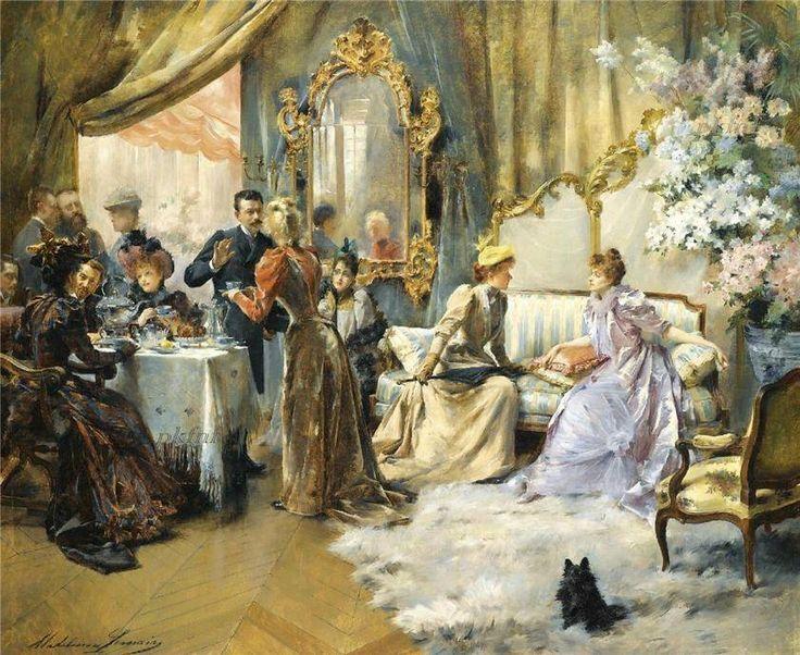 Французская художница Мадлен Лемер вошла в историю не только как прекрасный жанровый живописец, но и как светская леди, державшая в своём доме художественный и литературный салон. Её гостями были известные графини и герцоги, принцессы и оперные певцы, художники и композиторы, поэты и артисты, послы со всех концов света.  Такой уровень аристократизма не мог обойтись без чайных церемоний, моду на которые во Франции ввел еще Людовик XIV. Как и в Англии, обязательными атрибутами французского…