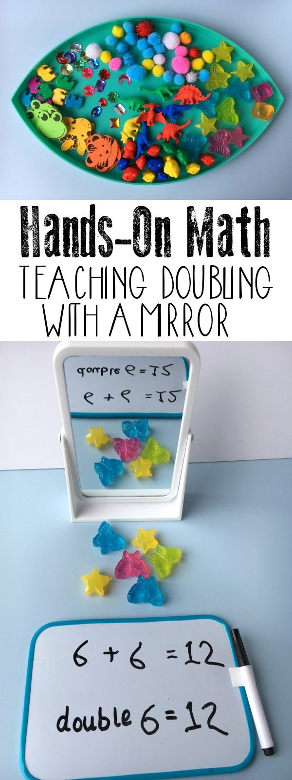 Simple to set up Maths Centre activity for home or the classroom to teach doubling.