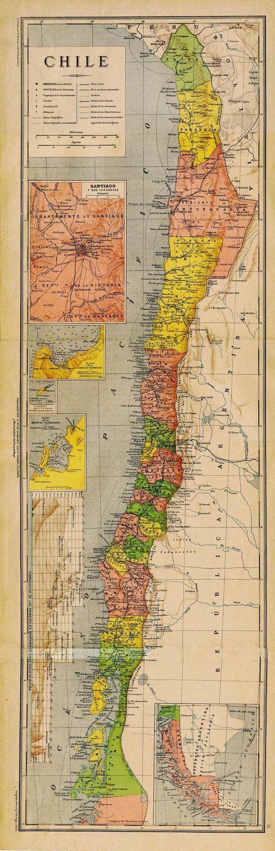 This is a beautiful old map of Chile. Its colors are bright and it would be perfect to hang on a narrow wall. Inset maps of: Santiago and