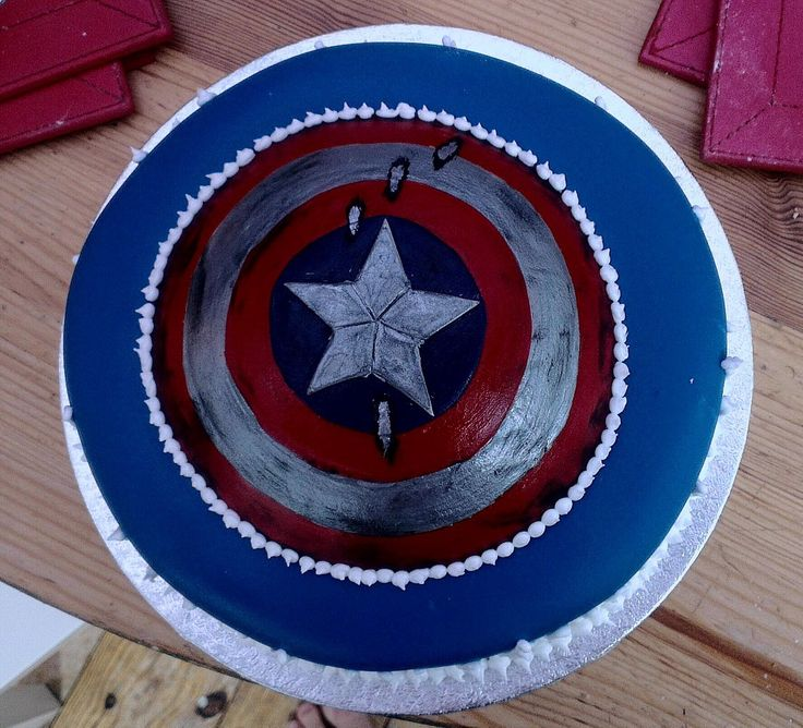 Captain America birthday cake without ice