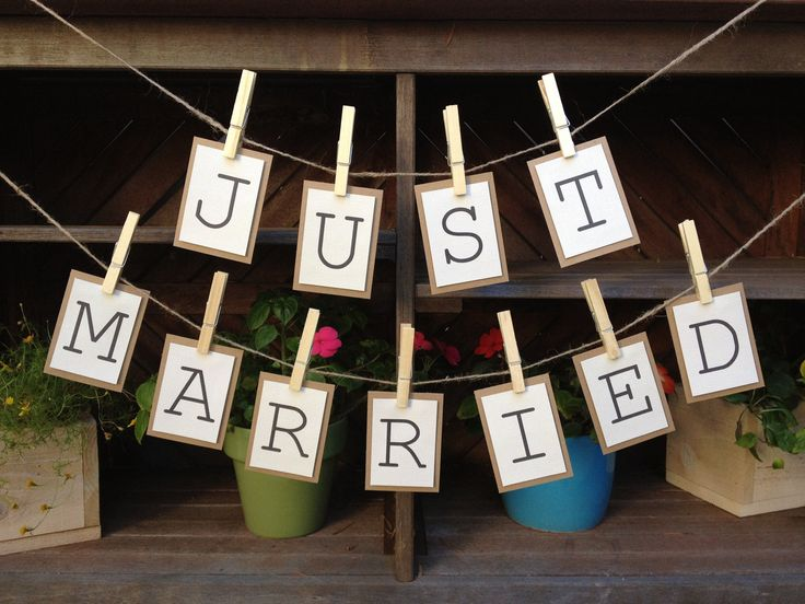 Just Married Bunting Banner / Sign for your Wedding Reception (Two Separate Strands). $14.00, via Etsy.