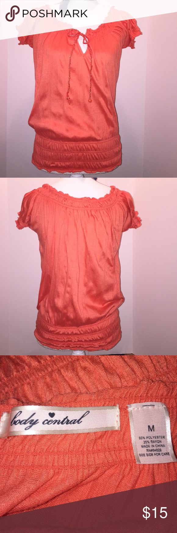 🆕 Listing Body Central 🆕 Listing Body Central Coral Peasant Top - 65% polyester 35% rayon .... I do have color in my closet! 😘 Body Central Tops