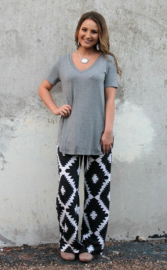 Sweet Dreams Lounge Pants in Charcoal Aztec – Giddy Up Glamour Boutique