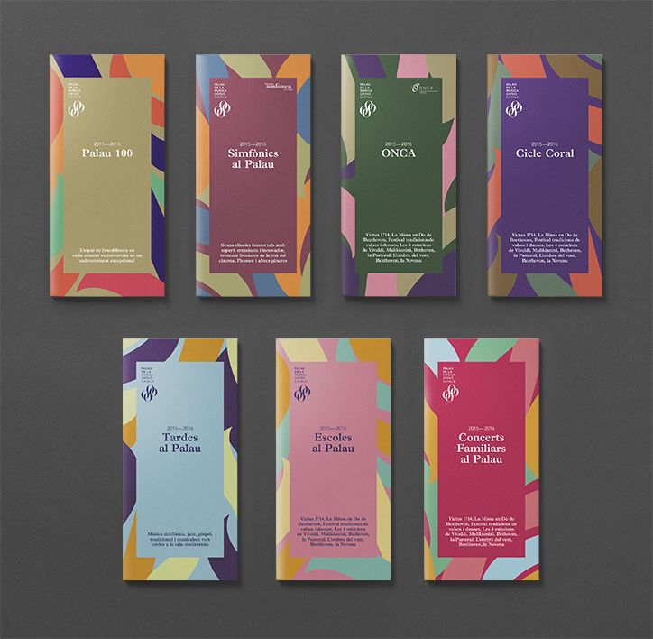 Promotional material for The Palau de la Música Catalana's 2015-2016 season by Spanish studio Clase bcn. Love the colors and fragmented shapes.