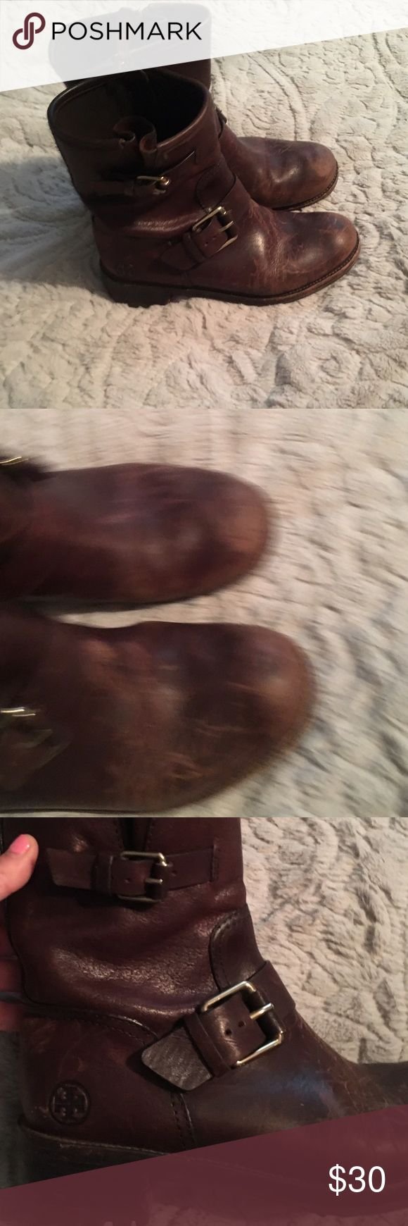 Tory Burch distressed boots Tory Burch Boots, have a vintage look. Added extra distress, so there are a good amount of scratches and wear. Authentic. Calf leather. Everything shown in photos above . Overall good condition. Combat boot style Tory Burch Shoes Combat & Moto Boots
