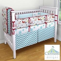 My Carousel Designs Custom Baby Bedding-- customized aqua and red.