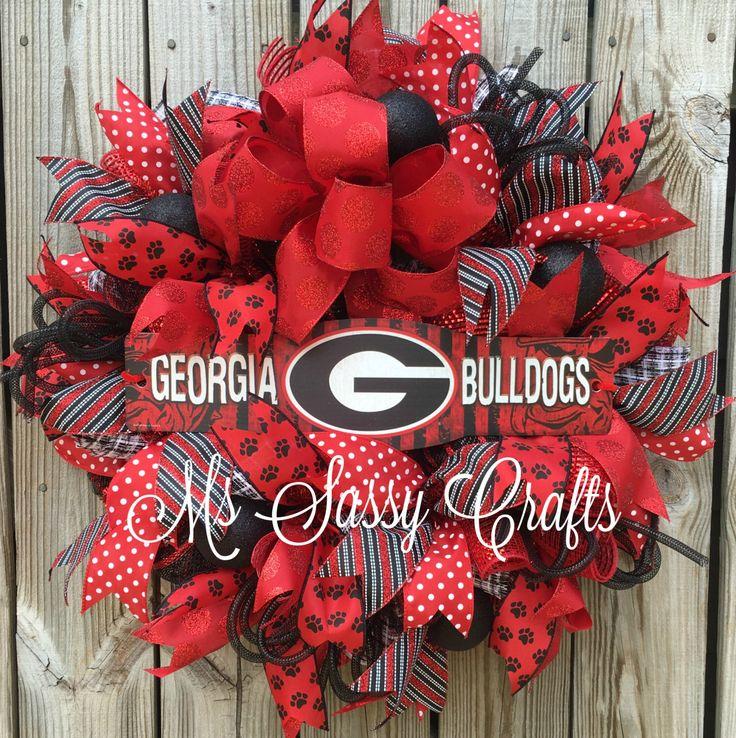 Georgia Bulldogs Wreath - Georgia Wreath - Bulldogs Wreath - UGA Wreath - UGA Decor - Bulldogs Decor - Georgia Bulldogs Deco Mesh Wreath by MsSassyCrafts on Etsy https://www.etsy.com/listing/242324041/georgia-bulldogs-wreath-georgia-wreath