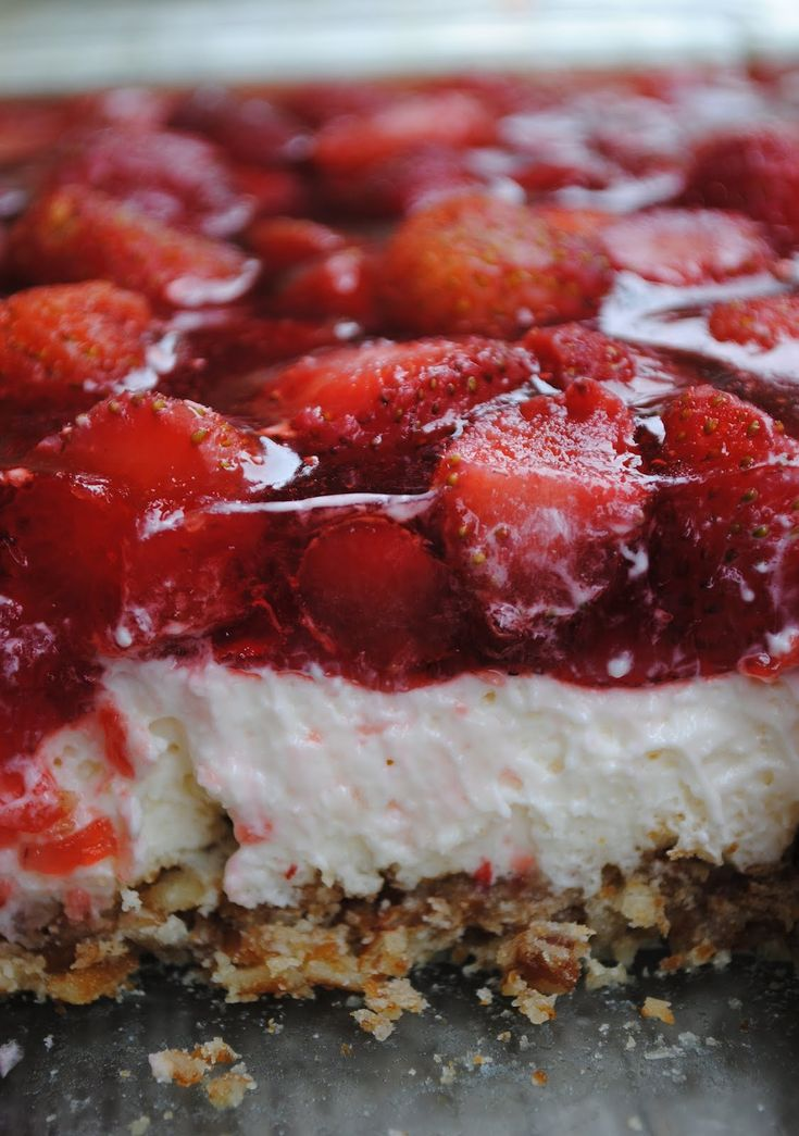 Strawberry Pretzel Dessert You can sub the strawberries for raspberries.