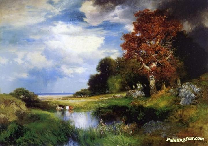 View of East Hampton Artwork by Thomas Moran Hand-painted and Art Prints on canvas for sale,you can custom the size and frame