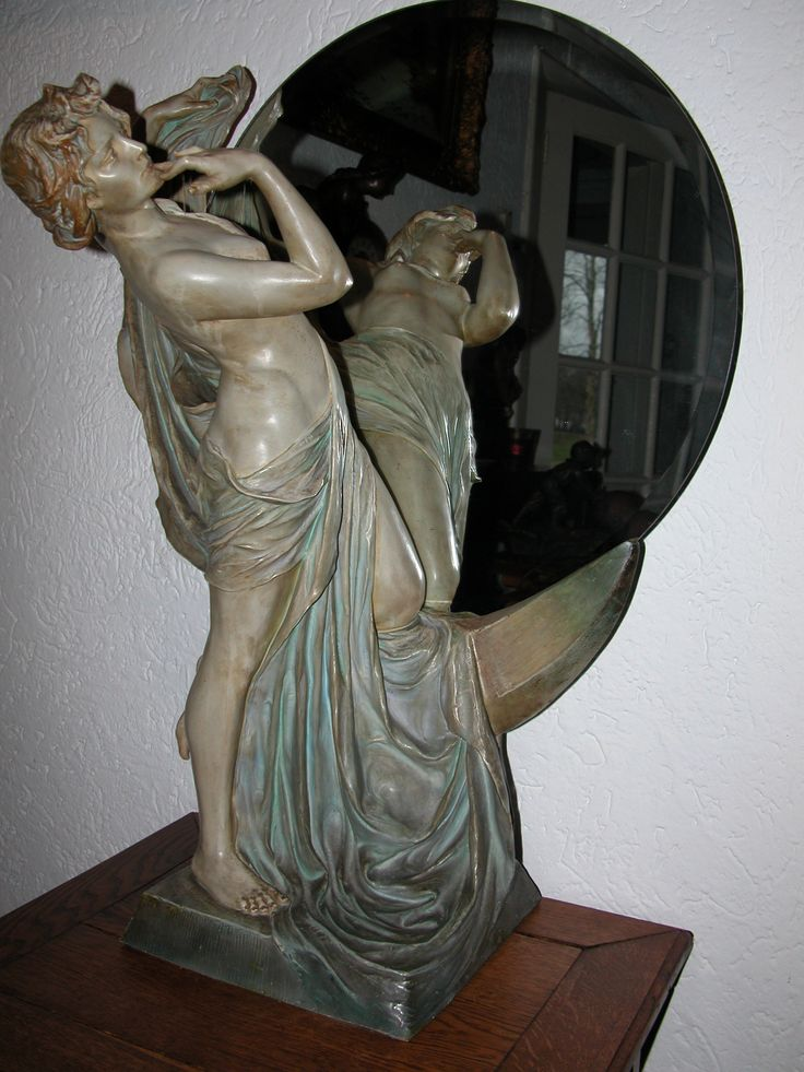 Women in front of mirror, Art Nouveau period around 1900, signed Uriela Cologne, 75 cm height
