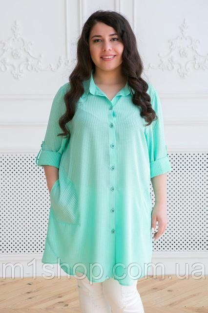 b9ed679e8b92f4c Женская рубашка в мелкую клетку больших размеров (Лика tn ) Бирюзовый, фото  1