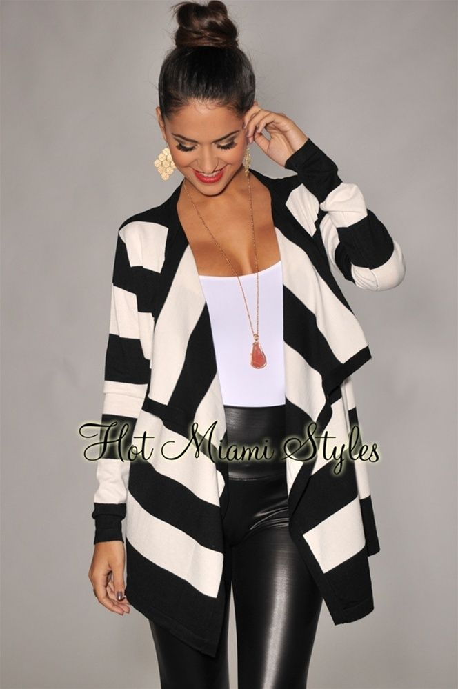 Black White Stripes Draped Front Sweater Cardigan
