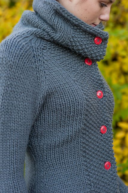 texture, buttons, cowl neck--what's not to love? Katrine Cardigan pattern by Cecily Glowik MacDonald