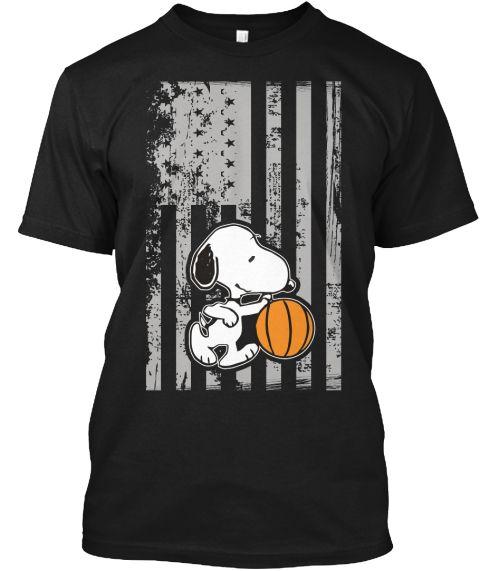 American Basketball Shirt , Snoopy Shirt Black T-Shirt Front