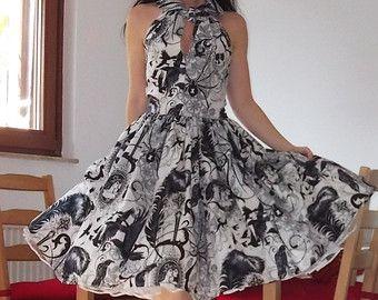 Vestito pinup 'Hitchike dress Night Ride', vestito di Halloween, teschi, ragni, corvi, Rockabilly dress