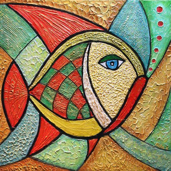 Original Abstract Fish Painting.Heavy Textured por NataSgallery