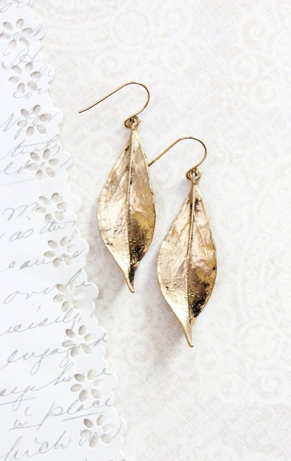 8d6ce43091827 Long Gold Leaf Earrings Woodland Jewellery Nature Inspired Modern ...