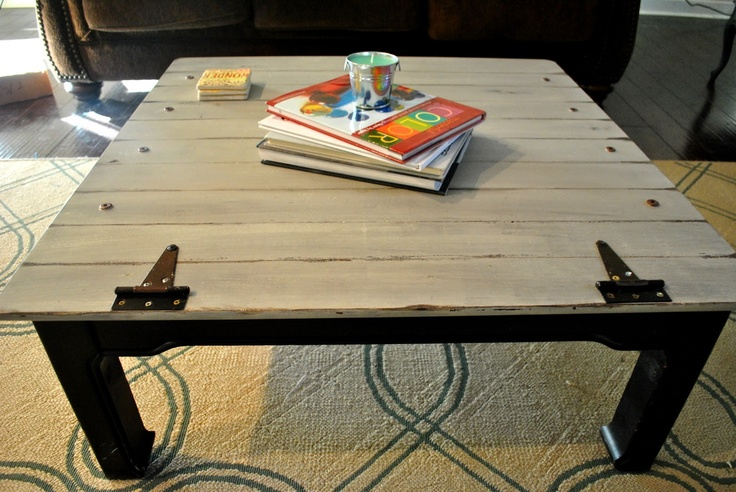 Amazing Grays: Industrial, Aged Coffee Table ReDo Faux wood planks scraped in. B…   – Craft Ideas/DIY