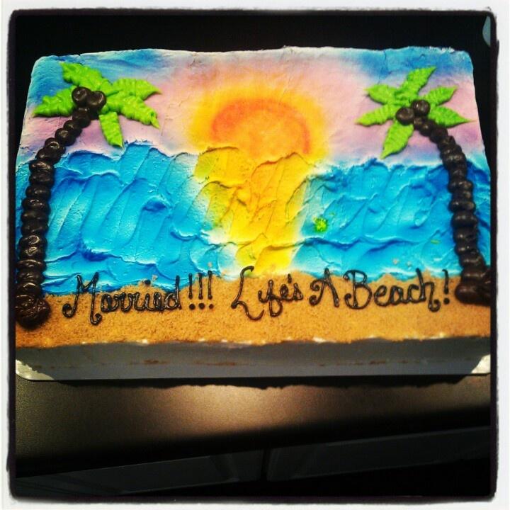Sunset Beach Wedding Ideas: Beach Theme, Sunset Wedding Shower Cake