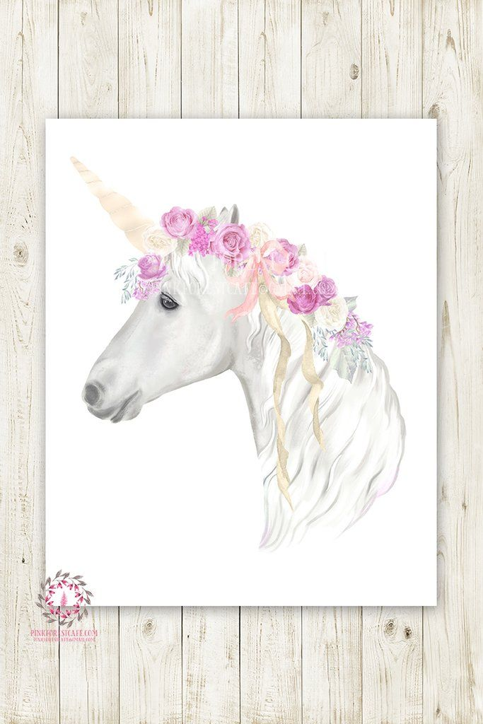 7f52cccb90874 Boho Purple Unicorn Wall Art Print Baby Girl Nursery Lace Roses ...