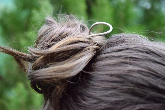 Curved german silver hair pin alpaca hair by TheLittleLab on Etsy