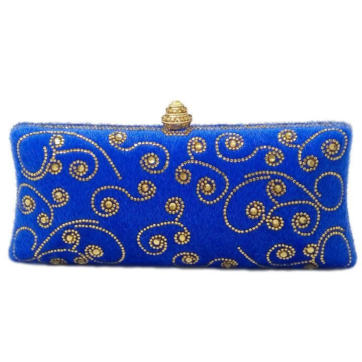 Royal Blue Woman Flower Evening Clutch Bag