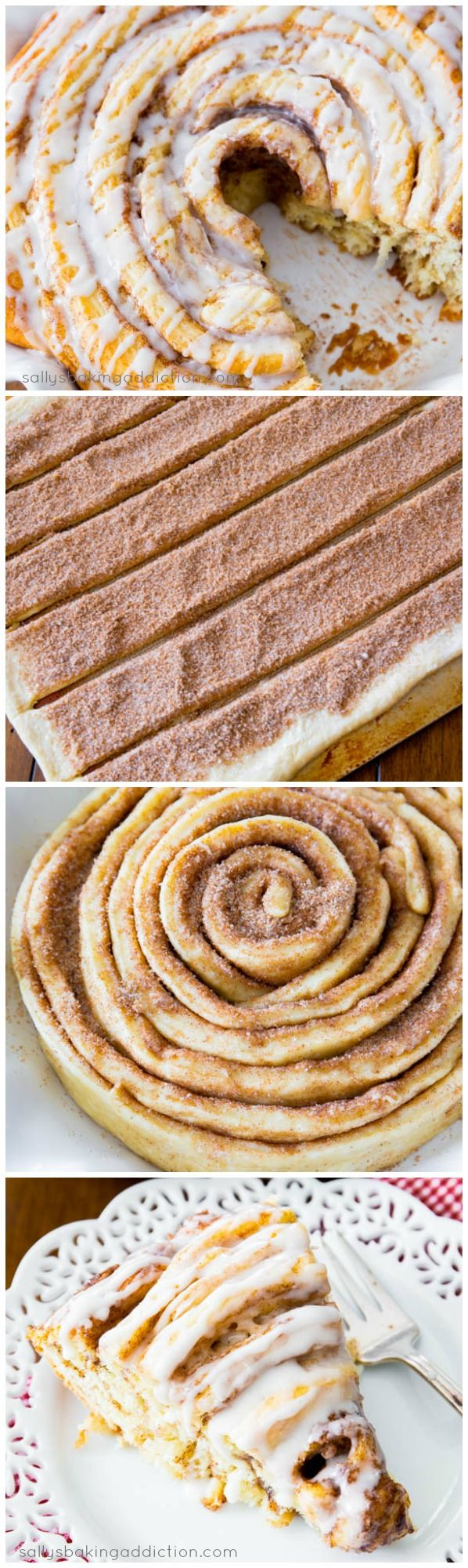 giant cinnamon roll cake, via sally's baking addiction