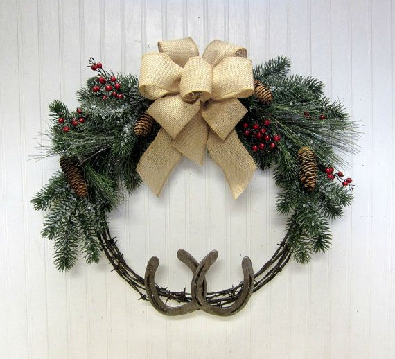 Rustic Country Western Christmas Barb Wire and Horseshoe Wreath Barn Decor
