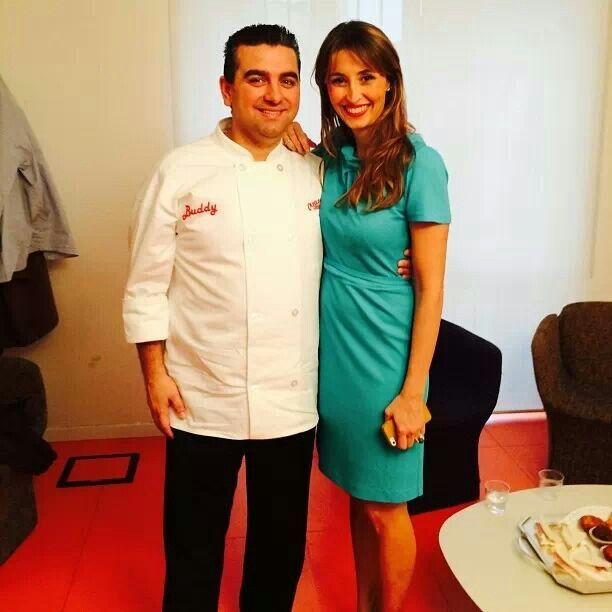 Cake Boss, Buddy Valastro with Realtime TV's Beuedetta Parodi, host of Bake off Italia.  Pinned from Buddy Valastro's Facebook post.