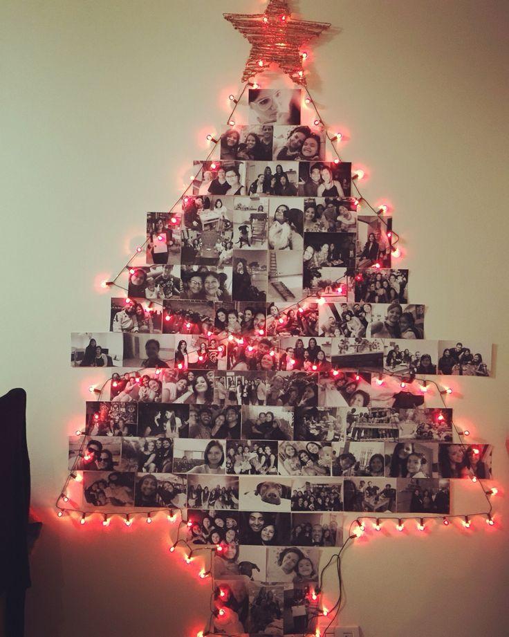 Arbol de navidad hecho con fotografías