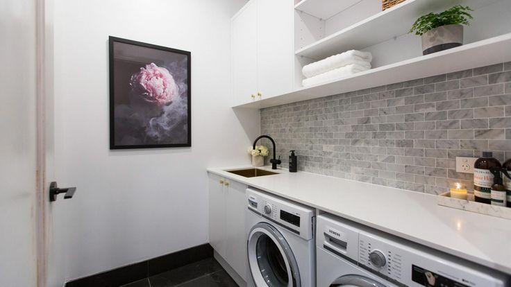 The Block 2016 laundry, entry and powder room reveals: Sasha and Julia's laundry.
