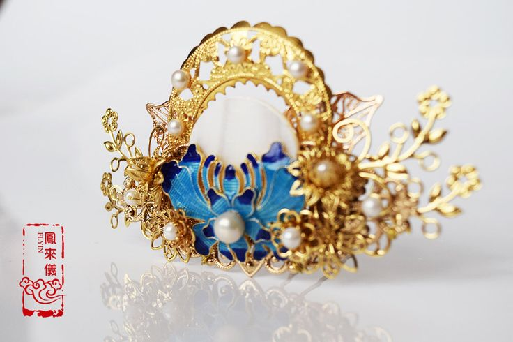 Flyin Chinese butterfly cloisonne hair pin in shell flower, gold plated copper filigree, Asian wedding hair tiara for weddings by FlyinJewelry on Etsy https://www.etsy.com/listing/493518886/flyin-chinese-butterfly-cloisonne-hair