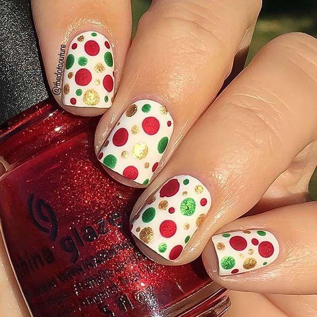 Easy Polka Dot Christmas Nails