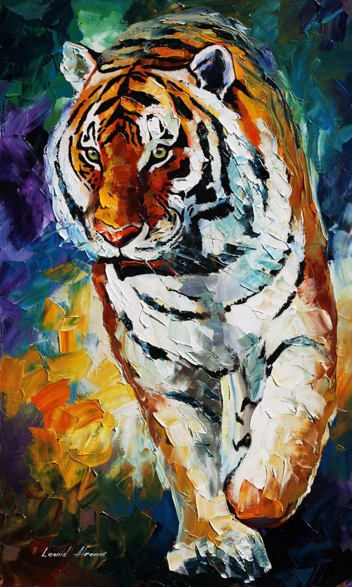 """""""Tiger""""  oil painting by Leonid Afremov, love love love the texture"""