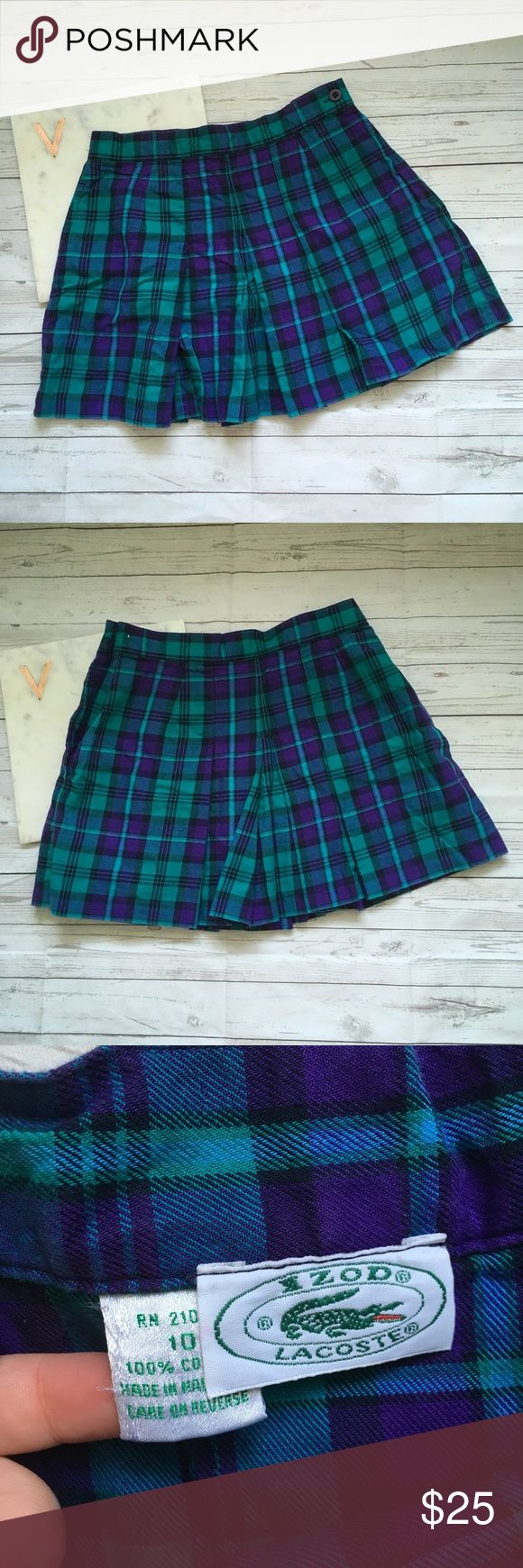 izod lacoste womens 10 plaid skirt pleated checker gently used with no flaws  great for school   could be a schoolgirl halloween costume   waist = 13 inches  length = 14.5 inches Izod Skirts Mini
