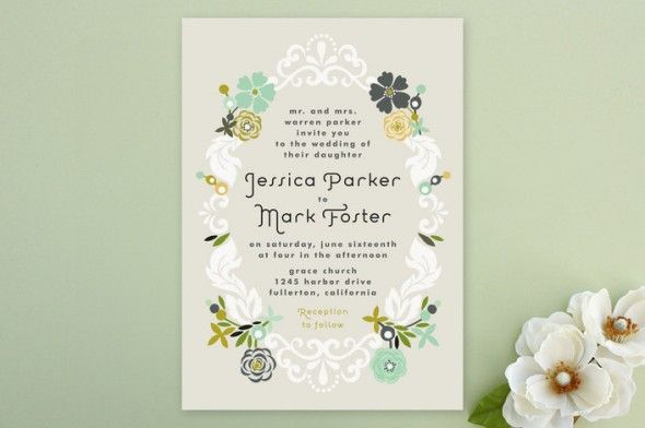 Floral Rustic Wedding Invitations