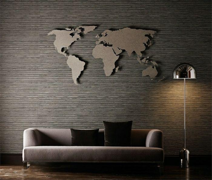 wand im wohnzimmer weltkarte als wanddeko wall decor living room wallpaper hirschkopf deko groß wanddekoration ideen flur