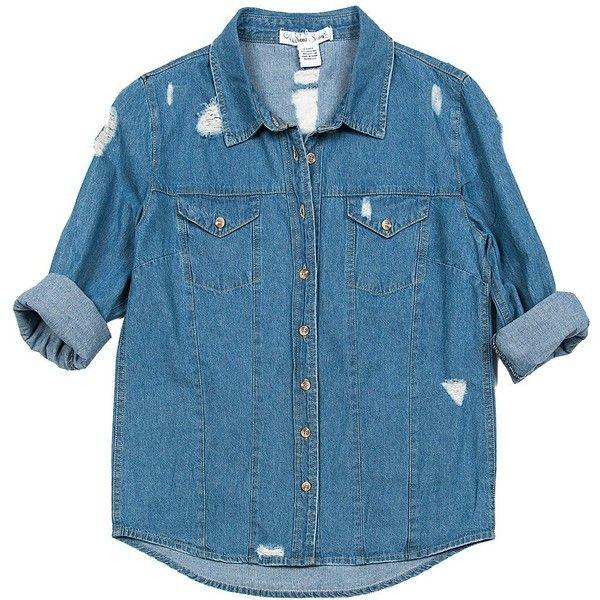 Sans Souci Distressed denim button down shirt found on Polyvore featuring tops, shirts, denim, jackets, button down top, long-sleeve shirt, long sleeve button up shirts, button up shirts and blue button up shirt
