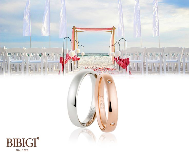 Bibigì #weddingRing White and pink gold ring with diamonds. A ...