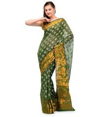Green Banarasi Chanderi Cotton Saree | Fabroop USA | $53.99 |
