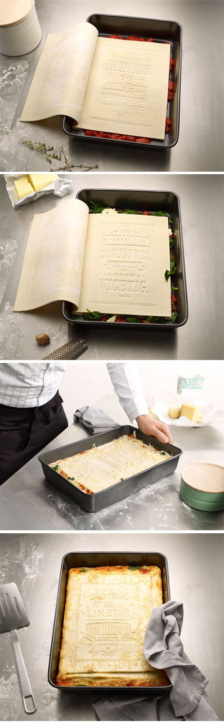 A cookbook that you can eat! Made out of 100% fresh pasta, you just have to flip the pages and put your favorite ingredients; tomatoes, spinach, cheese... and you have the most original lasagna ever! This idea is from Korefe, a graphic design agency based in Germany.