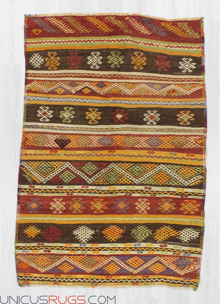 """Vintage kilim rug from Malatya region of Turkey. In very good condition. Approximately 50-60 years old. Width: 3' 8"""" - Length: 5' 4"""" Embroidered Kilims"""