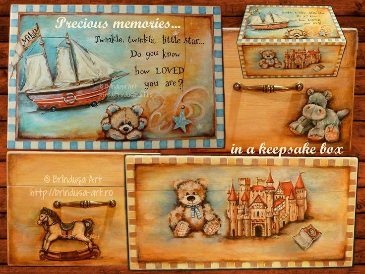 Painted & personalized keepsake box for precious childhood memories - for a little boy. Acrylic painting on wood. Cutie pt. păstrat amintiri preţioase din copilărie – pictată & personalizată pt. un băieţel. Pictură pe lemn, unicat. #paintedbox #cutiepictata #woodpainting #picturapelemn #children #childhood #copii #copilarie #keepsake #memento #personalized #commissionedart #picturalacomanda #oneofakind #unique #unicat #acrylics #acrilice #BrindusaArt