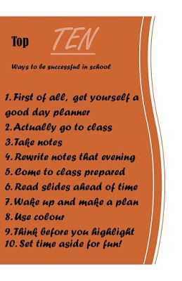 TOP TEN ways to stay organized through school