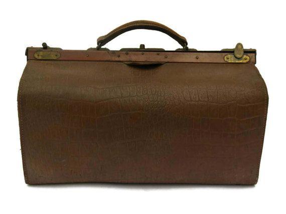 Médecins sac en cuir Français. Sac en cuir brun antique Gladstone.
