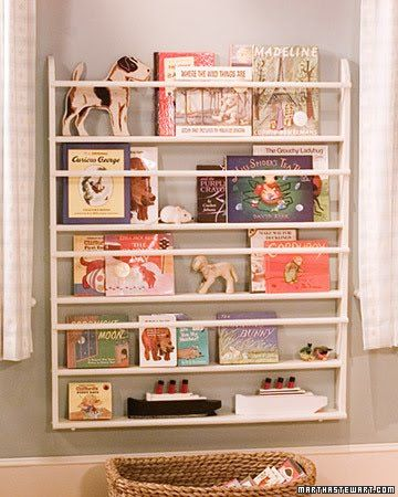 classic martha - nursery bookshelf - Add a back board painted black and instead of white guard rails, use wire pulled taut to give it a contemporary look for receipe books in the kitchen