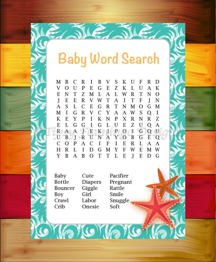 Baby Shower Game, Word Search, Shower Game, Party Supplies, Baby, Ocean Theme, Teal Swirl with Starfish, Printable, Instant Download - TFD26 by TipsyFlamingoDesigns on Etsy